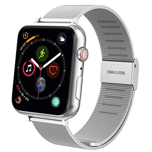 TFHEEY Correa para Apple Watch 38mm 40mm 42mm 44mm, Pulsera de Repuesto de Acero Inoxidable Hebilla Metal Banda Correas para Apple Watch iWatch Series SE/6/5/4/3/2/1, 5.5