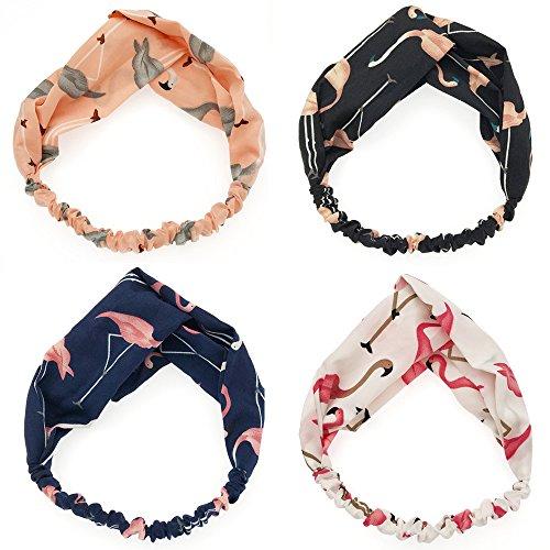 Egurs 4 Pack Vrouwen Hoofdband Flamingo Kruis Haarbanden Turban