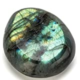 KALIFANO Labradorite Worry Stone with Healing & Calming Effects - High Energy Labradorita with Information Card - Reiki Crystal Used for Cleansing and Protection (Family Owned and Operated)