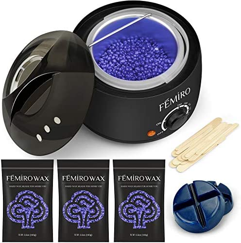 Wax Beads Hair Removal Kit, FEMIRO Hard Wax Kit Delilatory Wax Beans for Sensitive Skin Face Bikini Legs Eyebrow Women Men at Home Waxing 450g Waxing Beads(Lavender)