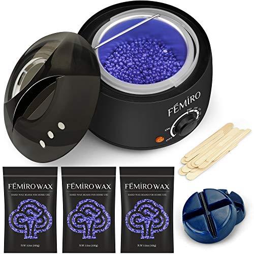 Waxing Kit, Femiro Wax Warmer Painless Hair Removal Wax Kit with 4 Bags Hard Wax (3.5oz/bag) 20 Wax...