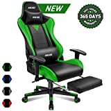 Muzii BIFMA Certified Gaming Chair with Footrest, High-Back PU Leather Office Chair with Headrest and Adjustable Lumbar Support,Ergonomic Computer Swivel Chair for Teens and Adults-Green