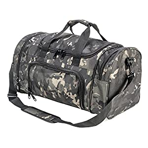 PANS Military Waterproof Duffel Bag Tactical Outdoor Gym Bag Army Carry On Bag with Shoes Compartment,Molle System,Shoulder Bag&Handbag for Sports Travel Camping Hunting(Black-multicam)
