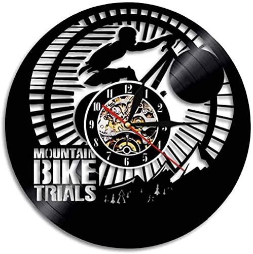 hhhjjj Reloj de Pared de Vinilo de producción de Prueba de Bicicleta de montaña decoración 3D Reloj de cronometraje de Carreras de Bicicletas Deportes Bicicleta Arte Mural Regalo del día de la Madre