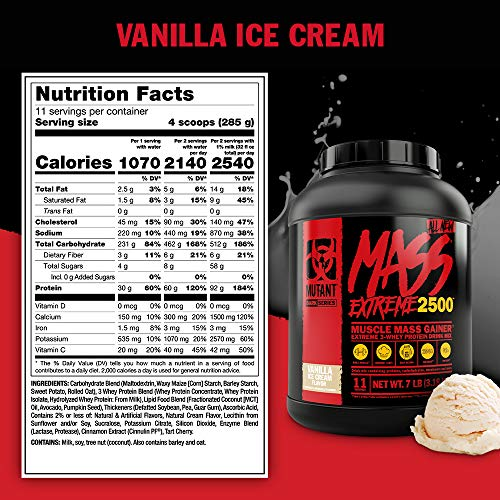 Mutant Mass XXXtreme Gainer Whey Protein Powder, Build Muscle Size & Strength with High-Density Clean Calories, Cookies & Cream, 7 lbs. (3.18 kg)