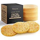 Facial Sponges 100% Natural Compressed Cellulose (50 Count Pack) | Eco-Friendly & Reusable | Makeup Remover Pads/Sponge | Exfoliating Facial Wash/Scrub & Skin Cleanser