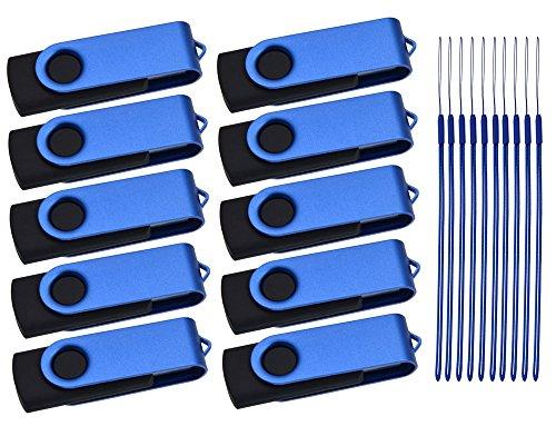 Pendrive - 1GB Memoria USB 10 Piezas - Kepmem Azul Plegable Diseños...