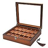 LZZ Schmuckaufbewahrung,Aufbewahrungsbox für Herrenuhren aus Holz,Geschenkvitrine mit 18 Schlitzen,Glasplatte,Organizer-Box für Luxusuhren mit Schloss und Schlüssel