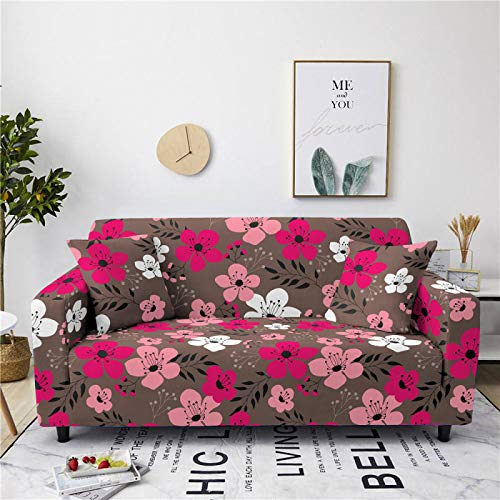 Stretch Sofa Couch Covers Elastic Fabric Pink Flower Pattern Armchair Loveseat Slipcover Settee Universal Cover Durable Furniture Protector From Dogs/Pets/Kids,1,seat 90,140cm