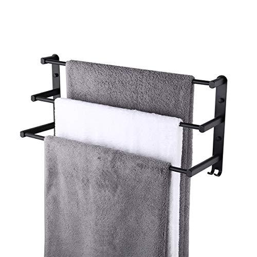 KES Toallero Negro de 3 Niveles para Baño con Ganchos Toallero de Pared para Baño y Cocina, BTH400S60DG-BK