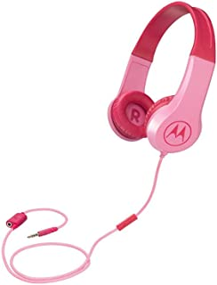 Motorola Squads 200, Kids Wired Headphones with Anti-Allergic Cushion, Enhanced Bass, In-Line Mic and Voice Assistant Compatible with 3.5mm Aux, Pink (Pack of1)