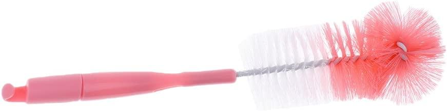 Baosity 2 in 1 Baby Milk Bottle Brush Kids Teat Nylon 360 Degree Cleaning Brush - Pink, as described