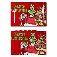 ランチョンマット耐熱グリンチメリークリスマストゥユーウォッシャブルプレースマットキッチン/ダイニングテーブルハロウィーンのチャーストマスパーティーのための農家
