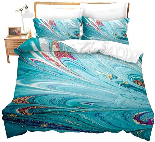Raaooaceo 3D Comfortable Duvet Cover & Pillowcase Set Bedding Digital Print Quilt Case Twin Queen King Bedding Bedroom Daybed(Double size 200 x 200 cm Abstract creative colorful marble) -Bedding boy
