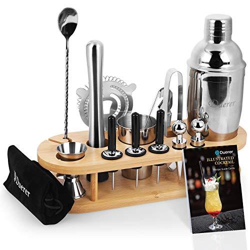 Duerer Barkeeper Kit mit Ständer, 23-teiliges Cocktail Shaker Set mit stilvollem Bambusständer, perfektem Home Bar Tool Set und professionellem Martini Bartender Kit - Exklusiver Rezeptbonus