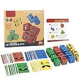 Joyivike Cubos Mágicos Wooden Magic Cube Building Blocks Face, Juguetes Creativos, Puzzle Iq Puzzler Building Cubes Em-oji, para Niños De Entrenamiento