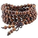 Shanxing, braccialetto o collana buddista Mala, con 108 perline per preghiera, in legno tibetano naturale, per meditazione, colore: 1-Black Rosewood(6mm), cod. SXUKAM00927