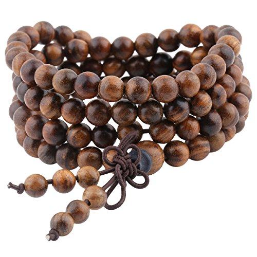 Shanxing 108 Prayer Beads Mala Bracelet,Natural Wood Tibetan Buddhist Buddha Meditation Necklace,Black Rosewood (6mm)