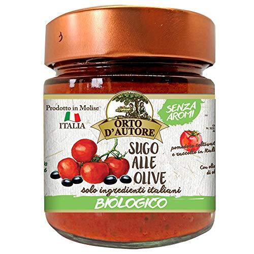 ORTO D'AUTORE Salsa de Tomate y Aceitunas BIO 3 X 180 gr, Salsa Lista Artesanales 100% Vegetales, Salsa de Aceitunas 100% Italianos con Ingredientes Natural y sin Aromas, Tarro de 2 Porciones