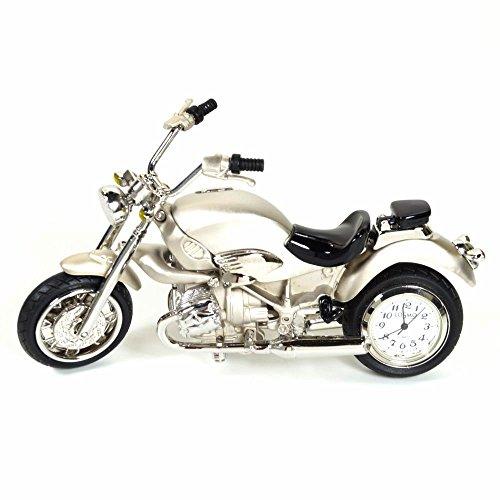 Cosmo 2014106 miniatuur motorfiets tafelklok analoog wit