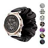 Seltureone Compatible for TicWatch C2,18mm Scrunchie Band,Replacement Wristband Pattern Band for Michael Kors Access Sofie/Michael Kors Access Runway/Fossil Sport 41mm/Withings Steel HR 36mm—Black