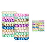 Noctilucent Spiral Hair Ties No Crease, Colorful Coil Hair Ties for Women, Glow In The Dark Phone Cord Hair Ties, Waterproof Hair Coils 20pcs