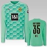 PUMA BVB Torwarttrikot grün Saison 2020/21, Größe:164, Spielername:35 Hitz