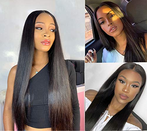 T Part 13x4x1 Lace Frontal Wigs Human Hair Pre Plucked Bleached Knots Middle Part for Black Women 9A Grade Brazilian Straight Human Hair 130% Density Natural Color