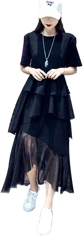 Dress, Irregular Mesh Skirt, Summer ShortSleeved Fake TwoPiece Temperament Cake Skirt (color   B, Size   XL)