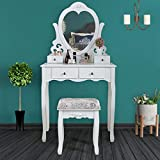 JAXSUNNY 4 Drawers Makeup Vanity Set Dressing Table w/Heart-Shaped Mirror & Cushioned Stool Bedroom Makeup Table with Stool for Women Girls (White)
