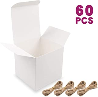 Moretoes White Boxes Small Gift Boxes 60pcs 4x4x4 Inches, Paper Gift Boxes with Lids for Gifts, Bridesmaid Proposal Box, Birthday Party, Cupcake Boxes, Crafting