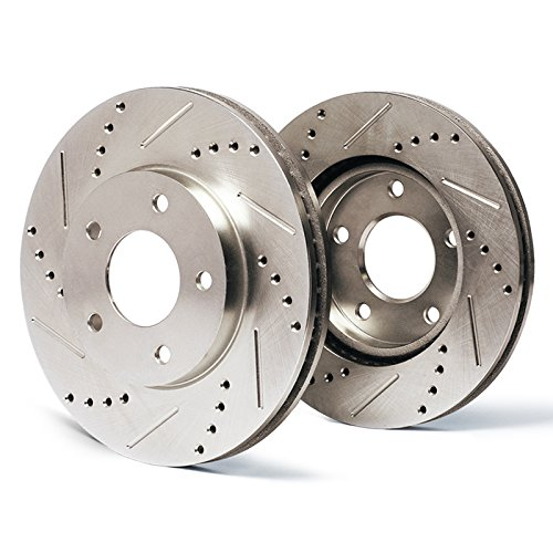 Max Brakes Front Premium Slotted Drilled Rotors Performance Brake Rotors SY005631 | Fits: 2007 07 2008 08 Acura TL; Non Type-S Models w/Brembo Front Calipers
