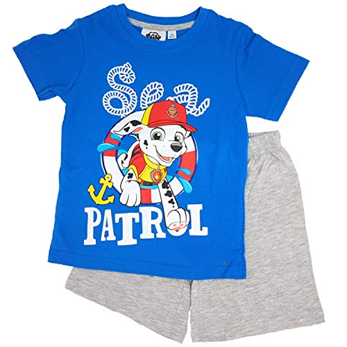 Paw-Patrol Jungen Schlafanzug Pyjama (Blau, 128)