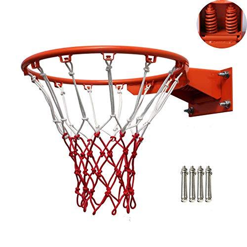 MMJJQWE Basketballfelge, 18-Zoll-Hochleistungs-Doppelfeder-Flexfelge, mit kostenlosem Allwetter-Netz, für die meisten Rückenbretter im Innen- und Außenbereich geeignet, orange