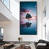 zgwxp77 Decoración del hogar Pintura de impresión HD Imagen Arte de la Pared Paisaje Lienzo Nube árbol Cartel Moderno Fondo de la mesita pintura40x80cm sin Marco