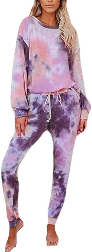 Tie Dye Lounge Sets for Women,Women Tie Dye Sweatsuit Long Sleeve Pullover Sweatpants 2 Pcs Lounge Jogger Set