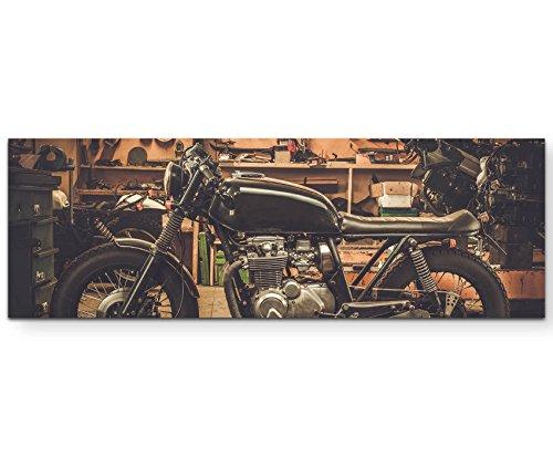 Paul Sinus Art Leinwandbilder | Bilder Leinwand 120x40cm Cafe Racer Motorrad in Garage
