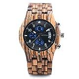 木製腕時計 ウッドウォッチ 腕時計 メンズ アナログ腕時計 天然木 カレンダー付き 彫刻 クリスマスプレゼント 贈り物 (ゼブラウッド)