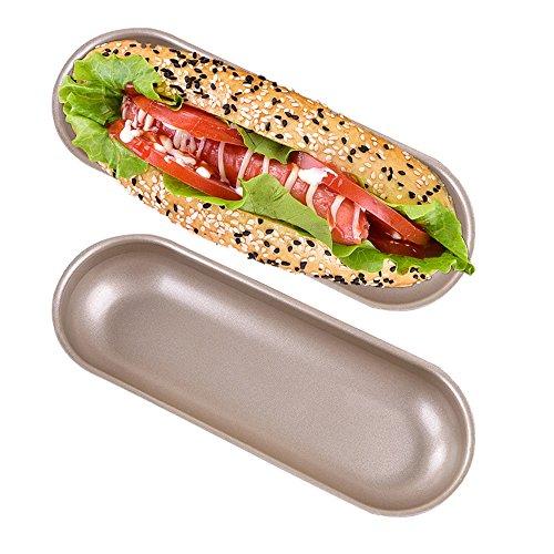 Hot Dog Brötchenform, antihaftbeschichtet, Karbonstahl, Hotdog-förmige Kuchenform zum Backen, 19 x 7,4 cm, 2 Stück