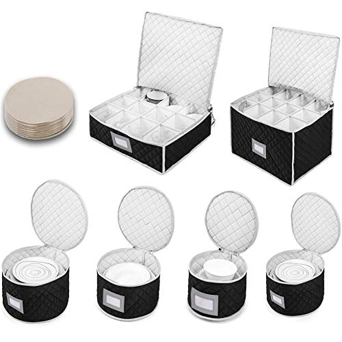 Woffit Fine China Storage Containers - Quilted Dinnerware, Stemware Set for Moving, Boxes for Packing Dishes & Glasses - 48 Felt Protectors for Plates or Glassware w/ Easy Labelling