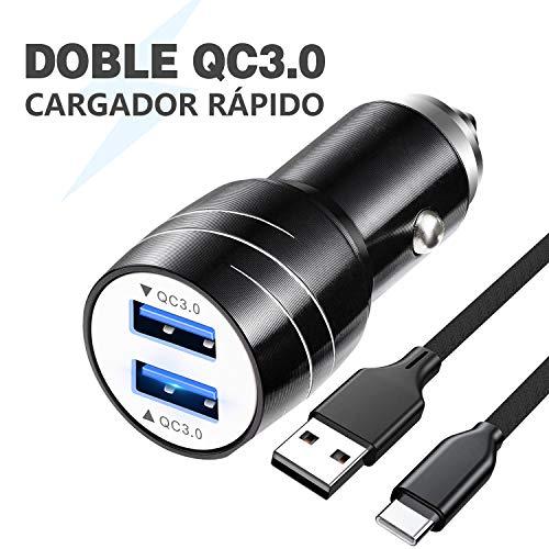 Magichome Cargador Coche USB, Cargador de Coche QC3.0 Doble Puerto con LED, Cargador Móvil Coche con Cable de Carga USB de 1M Nylon Type C para Samsung Galaxy S10 S9 S8, Note9 / 8, LG G6 V30, Negro