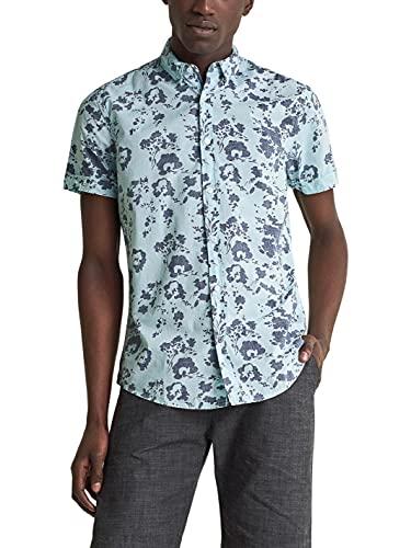 Salsa Jeans Camisa Manga Corta Fit Slim teñida para Hombre Hombre Color: 8519 Azul Talla: L