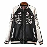 Viport Women's Floral Phoenix Embroidered Reversible Bomber Jacket Black Red (Medium)