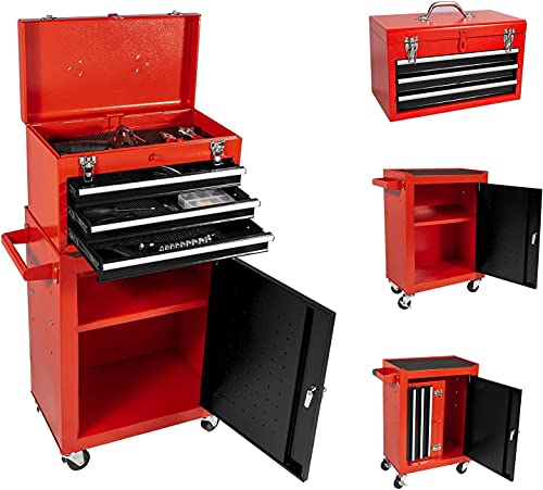 3 Drawers Tool Chest Tool Box, Rolling Tool Chest with Wheels, High Capacity Tool Box with Lock, Detachable Tool Cabinet Organizer, Mobile Toolbox for Workshop Garage Mechanics (Black&red)