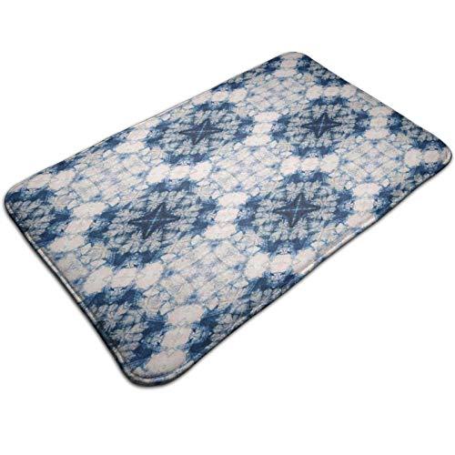 Paillasson antidérapant en coton avec effet tie-dye tribal, formes imparfaites et brumeuses dans un axe symétrique, paillasson pour entrée, chaussures, intérieur (40 x 60 cm)