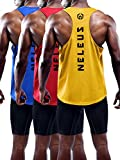 Neleus Men's 3 Pack Dry Fit Athletic Muscle Tank,5031,Blue,Red,Yellow,US XL,EU 2XL