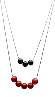 2-Strand Black Onyx, Red Bamboo Coral Sterling Silver Chain Necklace