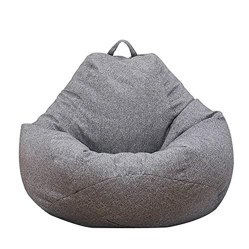 Iraza Puff Funda de Bean Bag 80x90cm,Kit de Sillónes de Hinchables de Adulto Infantil,Piel Sintetica,Color Gris, para Sala Dormir (80x90cm)