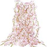 VINFUTUR 1.8m×5pcs Guirnalda de Flores Artificiales Cerezo, Guirnalda Flores Falsas Enredadera Colgante de Sakura Artificial Vid de Seda Plantas para Decoración Boda Jardín Balcón Exterior Interior