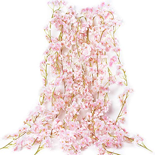 VINFUTUR Guirnalda de Flores Artificiales Cerezo 1.8m×5pcs, Flores Guirnalda Artificial Vid de Sakura Falsa Colgante de…